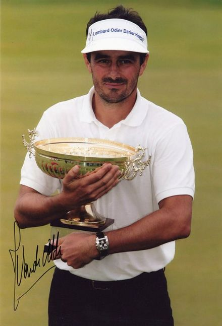 Jean van de Velde, French golfer, signed 12x8 inch photo.